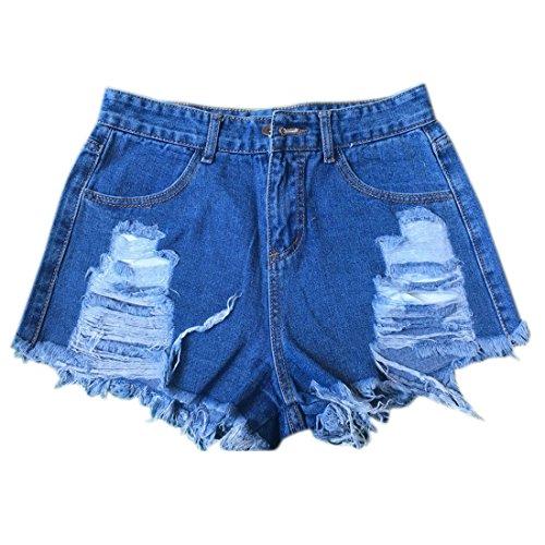 Ai.Moichien Mujeres Denim alta cintura áspera caliente pantalones vaqueros de color azul claro Dark Blue