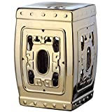 Safavieh Castle Gardens Collection Dynasty Filigree Plated Gold Glazed Ceramic Garden Stool