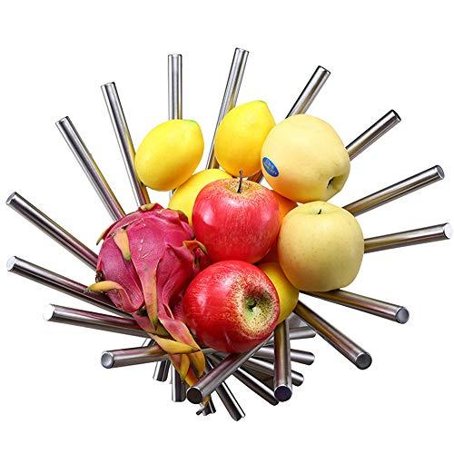 Apark Cesta Fruta Redonda, Frutero 3 Pisos, El Anillo Redondeado para Colgar, para Conservan Frutas, Verduras, Bocadillos o Pan - Tamano del tazon de Fruta: 16cm, 24.5cm, 31cm (Plata)