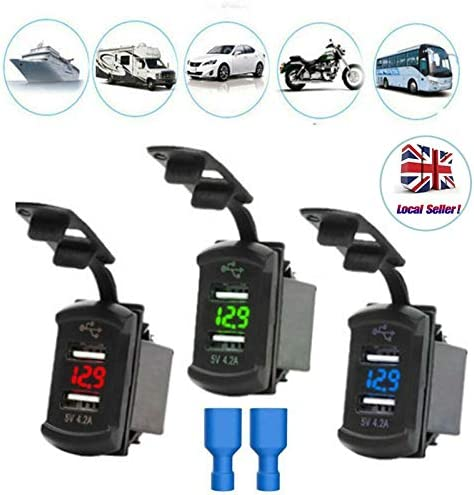 SOONHUA Car Charger Power Adapter with 4.2A Dual USB Port Socket Charger with Voltage Display Universal Waterproof