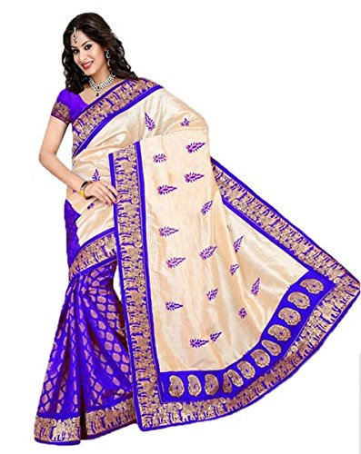 9acb9599506e67 Florence Women s Bhagalpuri Silk Sarees (Beige   Blue)  Amazon.in ...