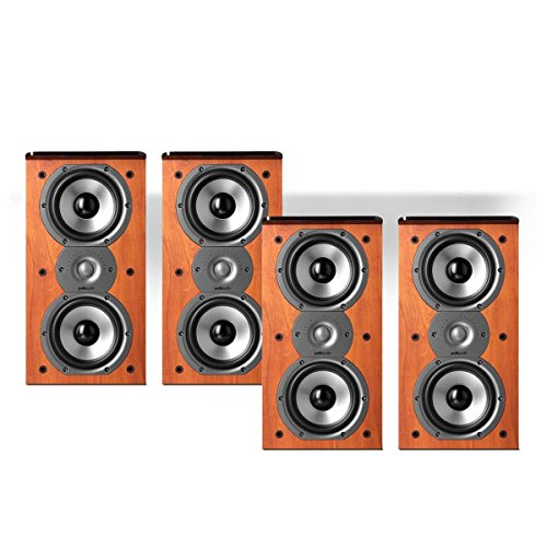 Polk Audio TSi200 2-Way Bookshelf Speaker Package – set of two pairs (Cherry)