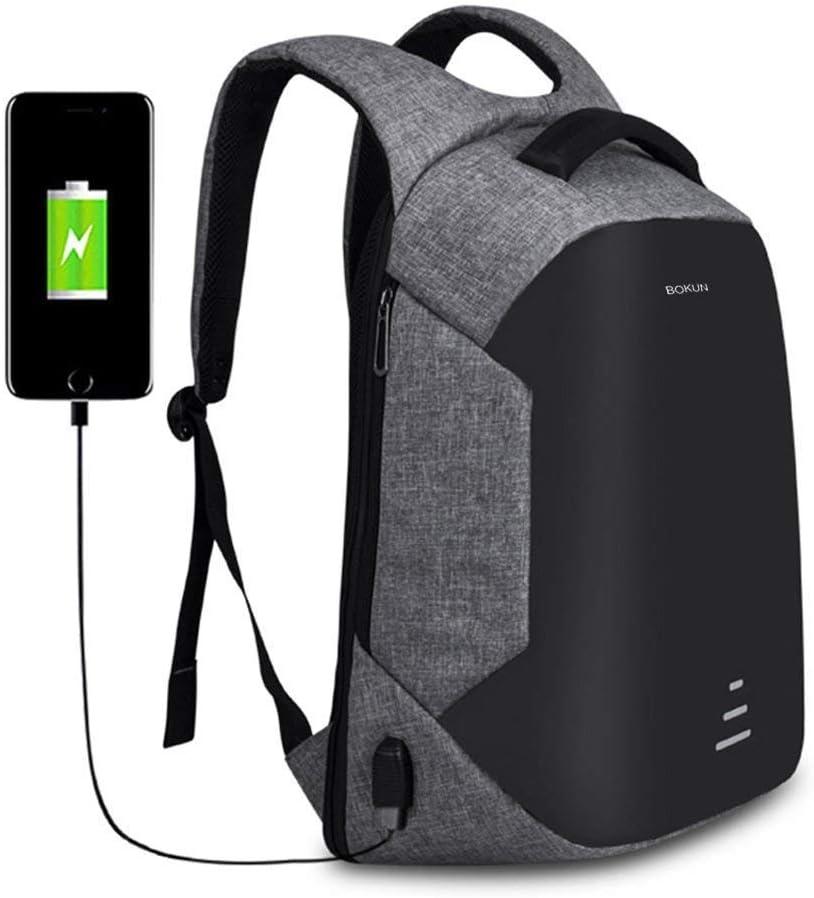 Tbag Mochila Portátil para Hombres Mochila Anti Robo para Portátil Multiusos Daypacks con Puerto de Carga USB para Mujeres Mochilas Escolares Juveniles KL-2,Gris (Gris,16'')