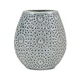 CC Home Furnishings 10.5'' Blue Ornate Designed Cylindrical Decorative Small Vase with Glaze Finish