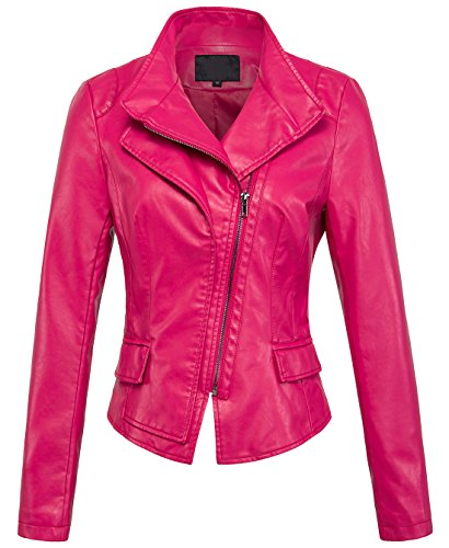 chouyatou Women's Stylish Oblique Zip Slim Faux Leather Biker Outerwear Jacket (Medium, Rose) (Motorcycle Jacket Leather Pink)