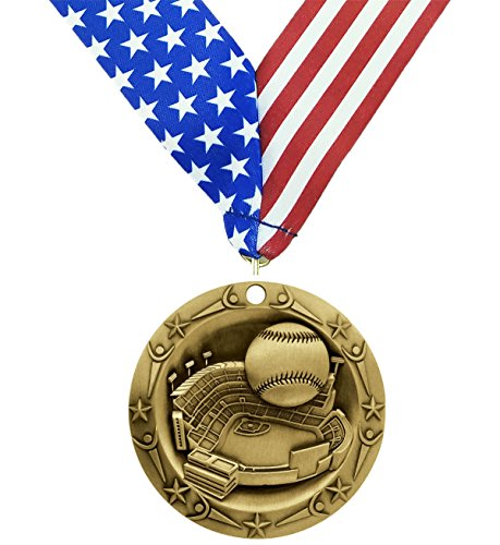 Gold Glove 2 Baseball Display (Gold Baseball World Class Medal - Come with Exclusive Decade Awards Stars and Stripes American Flag V Neck Ribbon - 3 inch wide - Made of Metal - Little League Tournament (GOLD))