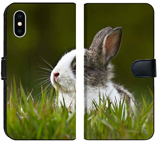 Luxlady iPhone X Flip Fabric Wallet Case Image ID: 38135421 Domestic Baby Rabbit in The Grass