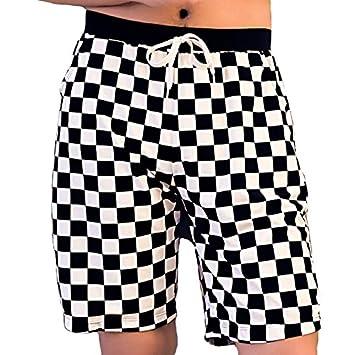 Beach Pants FORWIN UK- Pantalones de Playa de Tartán Negro de ...