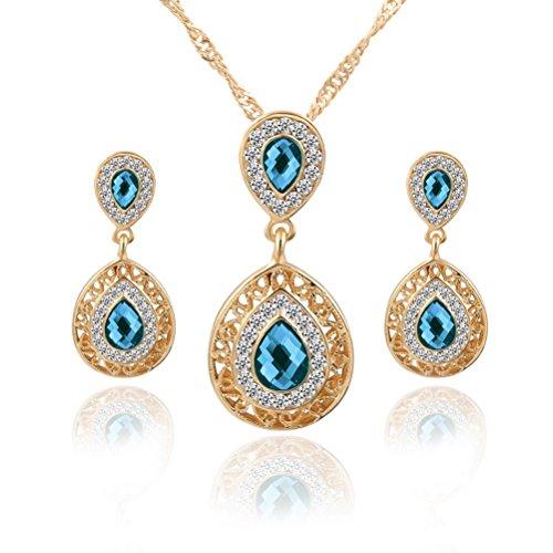 Superhai Pierced Earrings Necklace Combination Paragraph Pierced Pendant Drop Earrings