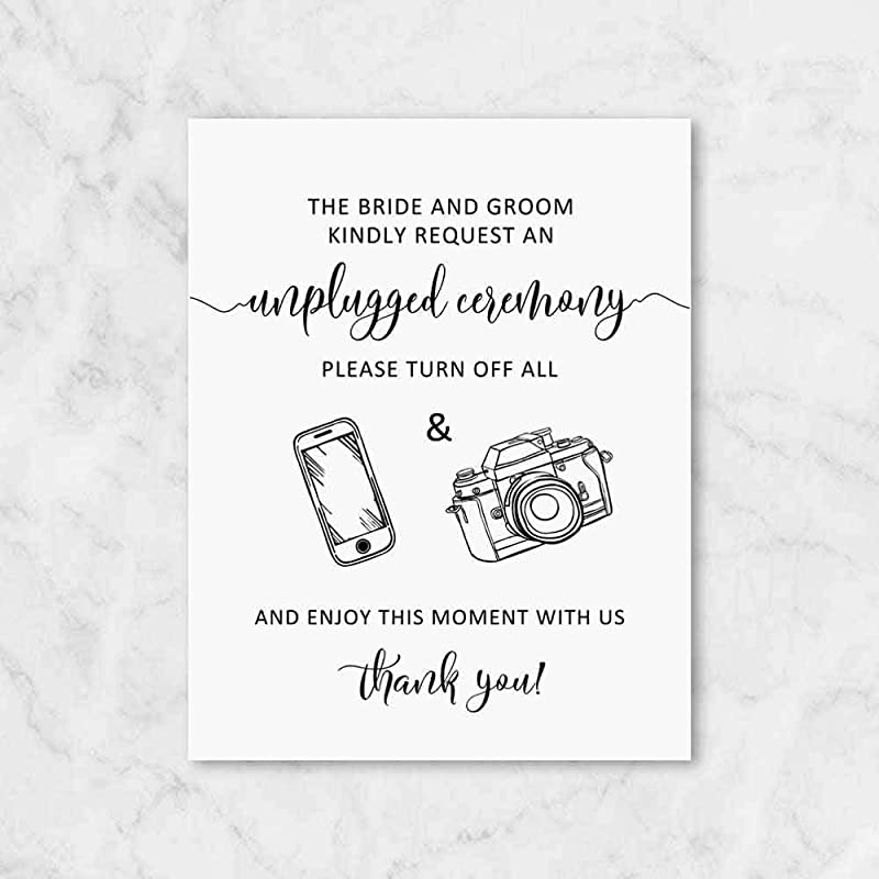 The Bride and Groom Kindly Request Unplugged Wedding Sign Wedding Sign Unplugged Ceremony Sign UNFRAMED 8x10 inch