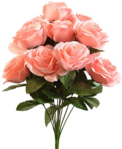 Colored Rose Coral (Light Coral Reef ~ 12 Open Long Stem Roses Silk Wedding Decoration Flowers Artificial Arrangement Bridal Bouquets)