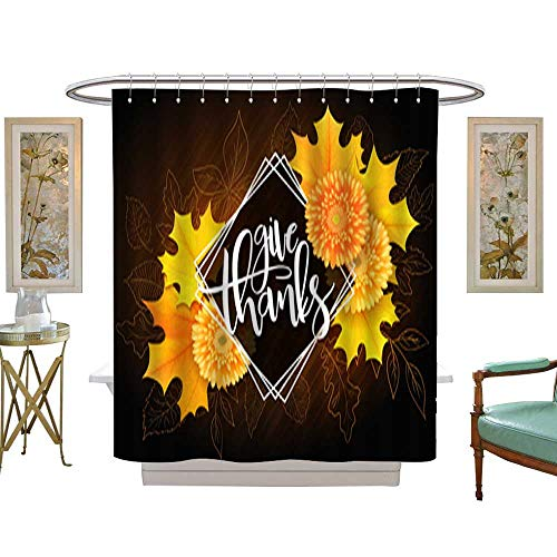 Fabric Shower CurtainVector thanksgiving greeting card with hand lettering label - happy thanksgiving day - and autumn doodle leaves realistic maple leaves and chrysanthemum flowers. Waterproof Wate