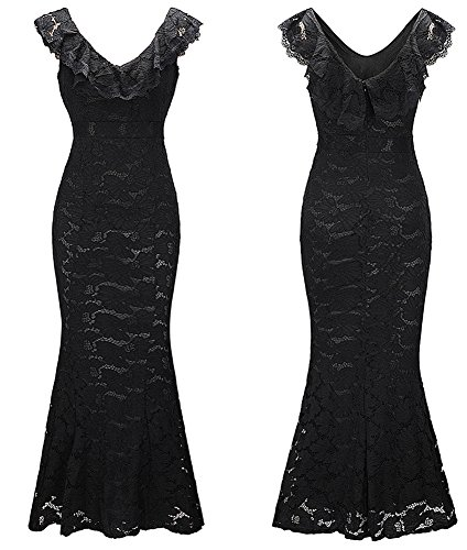 Prom Women's Evening Dreagel Sleeveless Dresses Long Vintage Black Lace Mermaid Gowns HAxwpqt