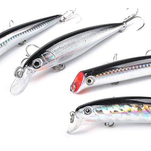Dr fish assorted 6 jerkbait minnow plugs popper 5 for Bass fishing kit