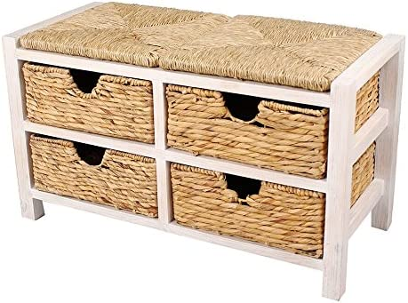 Heather Ann Creations Vale Series Multi Purpose Wooden Entryway Storage Bench with 4 Hyacinth Baskets, Whitewash