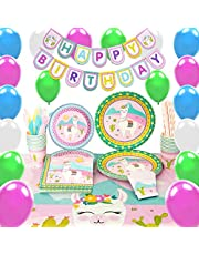 WERNNSAI Llama Party Supplies Set - Cactus Pink Party Decorations for Girl Kids Birthday Banner Balloons Cutlery Bag Table Cover Plates Cups Napkins Straws Utensils 16 Guests 169 PCS