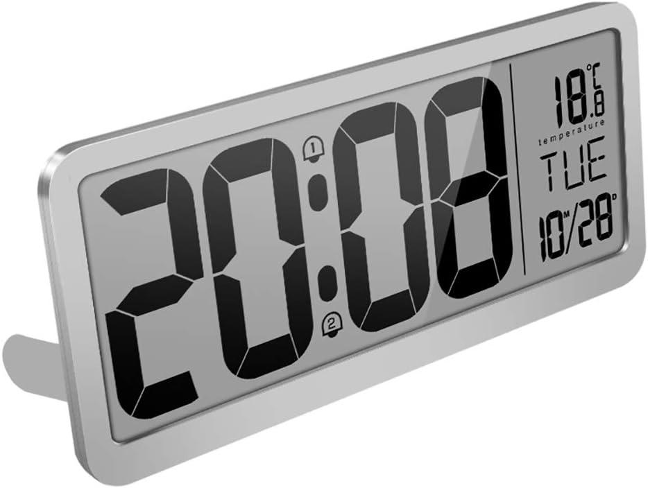 Ardorlove Reloj de Pared Digital con 2 configuraciones de Alarma, Volumen Ajustable, batería Grande alimentada Pantalla LCD, Hora, Fecha, día de la Semana y Temperatura (Gris)