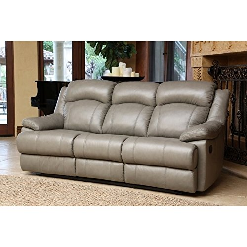 Abbyson Warwick Leather Reclining Sofa in Gray -