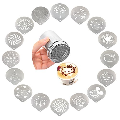 Passionier Stainless Steel Powder Shakers Coffee Cocoa Cinnamon Shaker Cans Mesh Duster With 16PCS Stainless Steel Barista Coffee Decorating Stencils Template For Latte Cappuccino, Cupcake (Coffee Cupcake)
