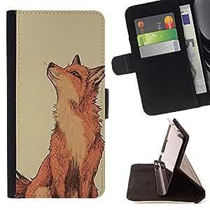 - Red Fox Clever Vignette Yellow Cute - - Prima caja de la PU billetera de cuero con ranuras para tarjetas, efectivo desmontable correa para l Funny HouseFOR HTC DESIRE 816
