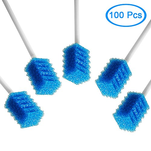 MUNKCARE Oral Care Swabs Disposable- Blue 100 Counts by MUNKCARE