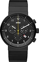 Braun Men's BN0095BKBKBTG Prestige Analog Display Swiss Quartz Black Watch