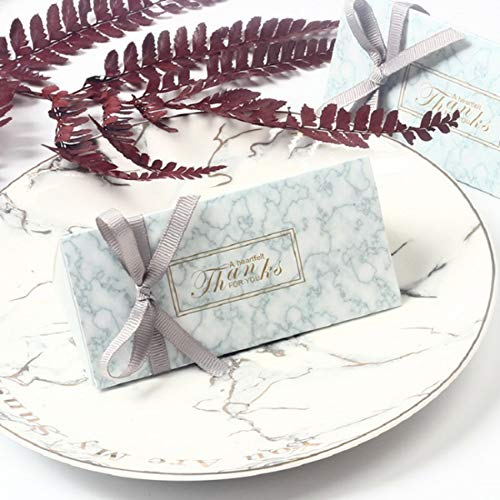 LASLU Marble Favor Boxes, Silver Wedding Favor Boxes and Decoration. Hexagonal Wedding Candy Favor Boxes with Ribbons for Wedding and Bridal Shower Party (50pcs, Triangle Candy)