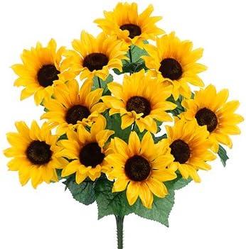 Amazon Com 19 Sunflower Bush X11 Yellow Pack Of 12 Home Kitchen