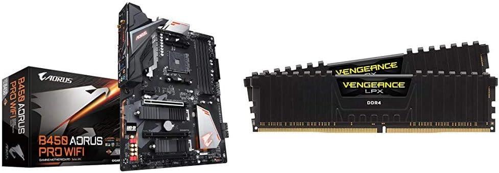 GIGABYTE B450 AORUS PRO Wi-Fi & Corsair Vengeance LPX 16GB (2x8GB) DDR4 DRAM 3200MHz C16 Desktop Memory Kit - Black