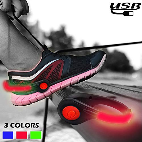 RICOVO LED Shoe Clip Lights Safety Lights for Running at Night - USB Rechargeable Lightweight Reflective Gear for Night Running (one Pair) -