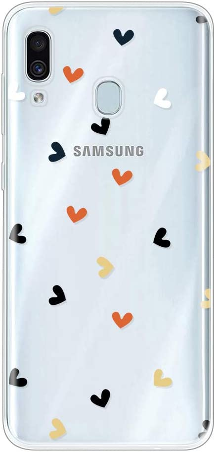 Miagon Clear Case for Samsung Galaxy A40,Creative Cute Design Slim Soft Flexible TPU Back Cover Phone Case,Black Dot