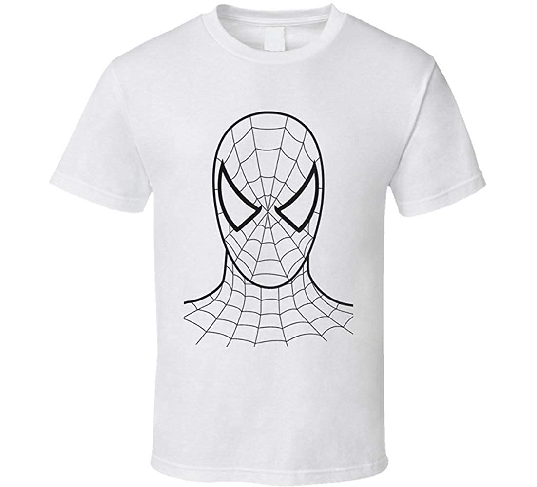 Jinan zhongying T-Shirt Spiderman Face t-Shirt Sketch Black and White Cool Comics carttoon Movie Superhero Justice League