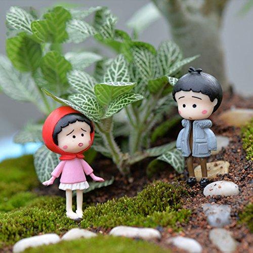 Cacys Store 4pcs Mini Kawaii Chinese Kids Figurine Resin Craft DIY Crafts Mix Resina Miniature Garden Decorations Moss Terrarium Supplies