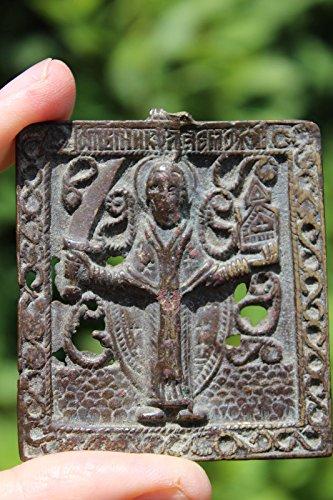 Christian bronze icon Saint Nicholas (?) with a sword, circa - Circa Icon
