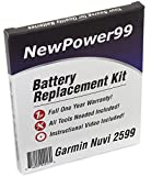 Battery Replacement Kit for Garmin Nuvi 2599 with Installation Video, Tools, and Extended Life Battery.