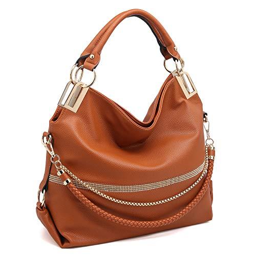 Dasein Women's Classic Large Hobo Bag Rhinestone Chain Shoulder Bag Top Handle Purse (Brown New)