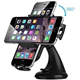 EC Technology® Universal Car Mount Holder Cradle 360 Degree Rotation Windshield Dashboard Car Stand High Quality Suction Cup & Easy Installation for iPhone, Samsung, LG, Moto, Nexus and more - Black