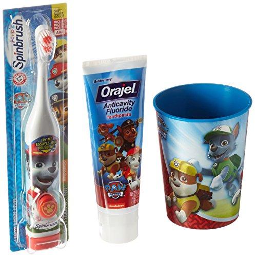 "Paw Patrol ""Chase Inspired"" 3pc. Bright Smile Oral Hygiene Set! (1) Paw Patrol Turbo Power Spin Toothbrush (1) Paw Patrol Anticavity Fluoride Toothpaste! Plus Bonus Paw Patrol Mouthwash Rinse Cup!"