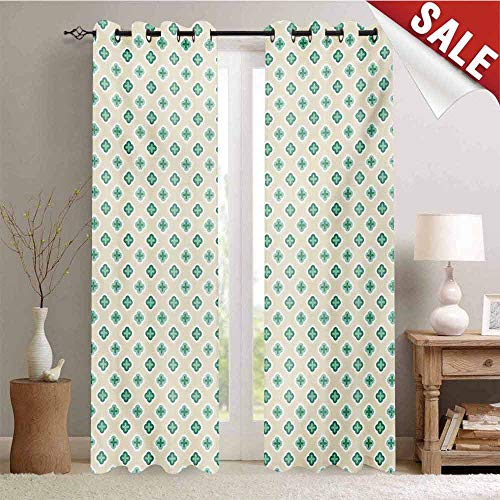Hengshu Turquoise Customized Curtains Retro Cross Pattern Abstract Geometric Plus Figure Oval Frame Design Vintage Blackout Window Curtain W84 x L84 Inch Ivory Seafoam