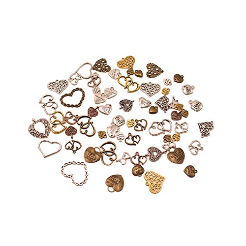 FeiZhu 100 Gram Mixed Heart-shaped Metal Alloy Handmade DIY Jewelry Production Accessories Pendant (Heart)