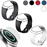 EEEKit 4in1 Starter Kit for Samsung Gear S2 (SM r720 Version ONLY) Smart Watch, 3 Pcs Silicone Watch Band Strap+Tempered Glass Screen Protector