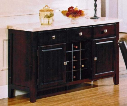 Top Buffet Sideboard Server (Server Sideboard with Marble Top and Wine Rack in Espresso Finish)