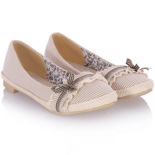 Ballet Beige Bow Flat Leisure Shoes Soft With Lightweight KingRover Fabric Comfort Slip Women's On 4RHTYY
