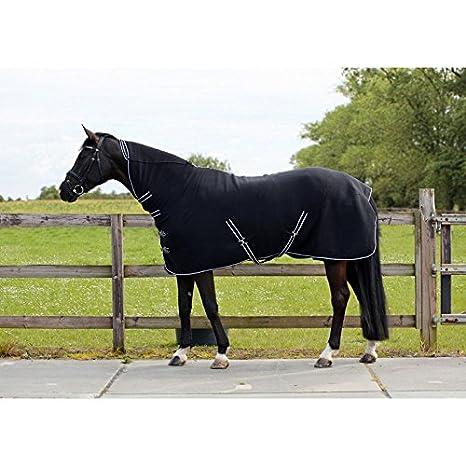 QHP Fleecedecke Abschwitzdecke Basic mit Halsteil Kreuzgurte blau + schwarz Schwarz)