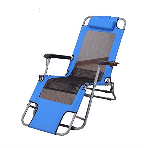 177 Single - Chairs XEWNG Folding single napping bed simple breathable lounge outdoor indoor (Color : Blue, Size : 177cm)