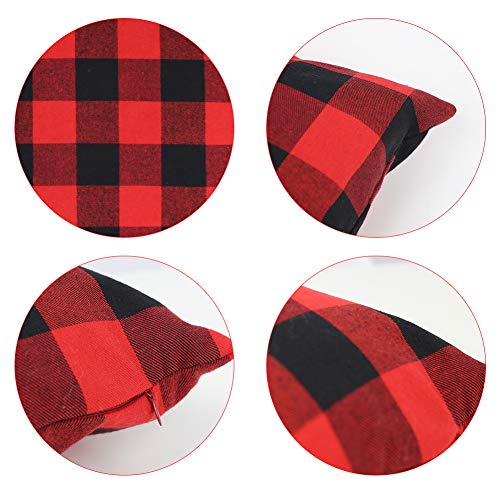 Johouse Red and Black Buffalo Check Plaid Throw Pillow Covers,4 Pack Cushion Case Cotton Polyester for Farmhouse Home Decor, 18 x 18 Inches