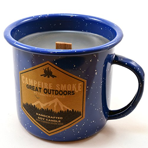 Fireplace Scented Candle (Campfire Smoke Wood Wick Soy Candle in an Enamel Camping Mug, 10 oz)