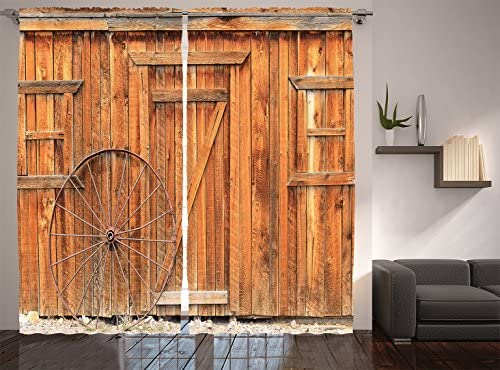 Ambesonne Western Decor Collection, Ancient West Rural Town Rustic  Weathered Wooden Door And Vintage Wagon Wheel Picture, Window Treatments,  ...