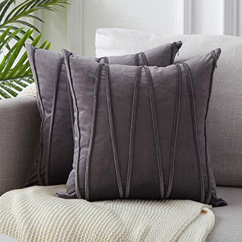 Top Finel Decorative Hand-Made Throw Pillow Covers 20 x 20 Inch Soft Particles Striped Velvet Solid Cushion Covers for Couch Bedroom Car 50 x 50 cm, Pack of 2, Dark Grey (Pillows Giant Couch)