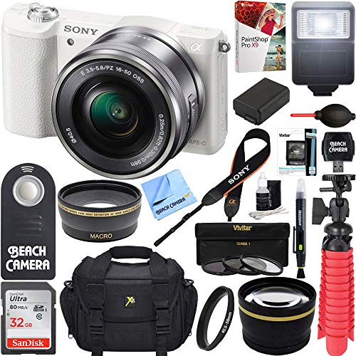 51H0RnszjGL - Sony Alpha a5100 HD 1080p Mirrorless Digital Camera White + 16-50mm Lens Kit + 32GB Accessory Bundle + DSLR Photo Bag + Extra Battery + Wide Angle Lens + 2x Telephoto Lens + Flash + Remote + Tripod